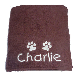 Personalised Dog Bath Towel with Paw Print - Chocolate