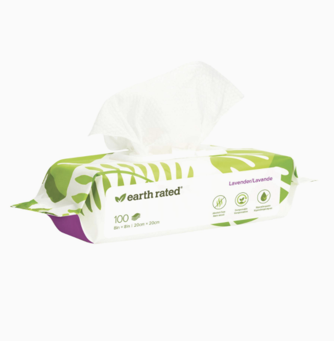 Earth Rated Dog Wipes,  100 Plant-based and Compostable Wipes  Scented