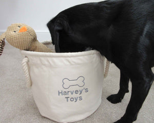 Natural Personalised Dog Toy Storage Bag
