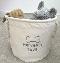 Load image into Gallery viewer, Natural Personalised Dog Toy Storage Bag
