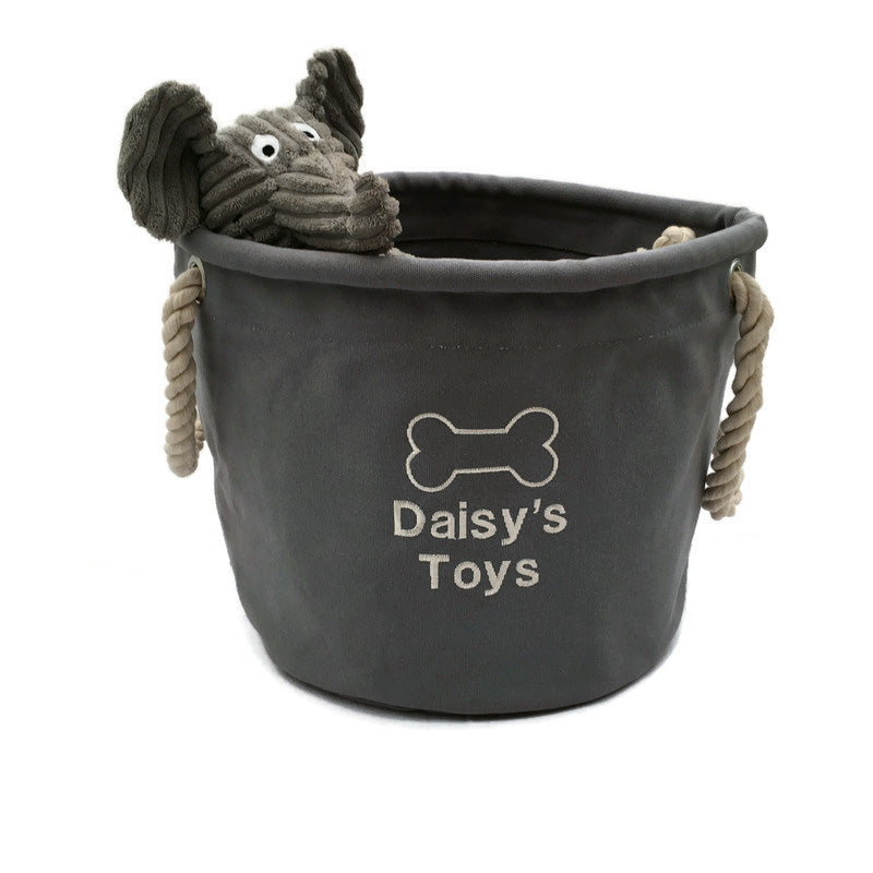 Grey Dog Toy Storage Bag Grey Personalised Dog Toy Storage Bag