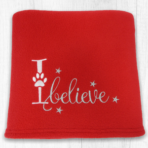 Red Christmas Dog Blanket - 'I believe'