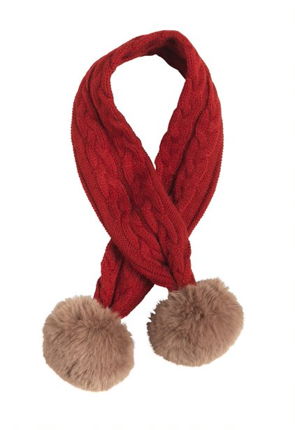 CABLE SCARF RED
