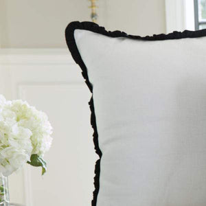 Two Toned Linen Ruffled Euro Sham