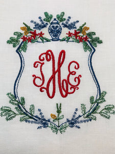 Chinoiserie Christmas Crest Linen Hand Towel