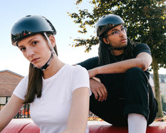YAKKAY skater helmet with Silver Grey and Ruby Red straps.