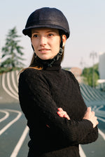 YAKKAY Milano Dark Blue Denim equestrian cap cover for Smart Two bike helmet.