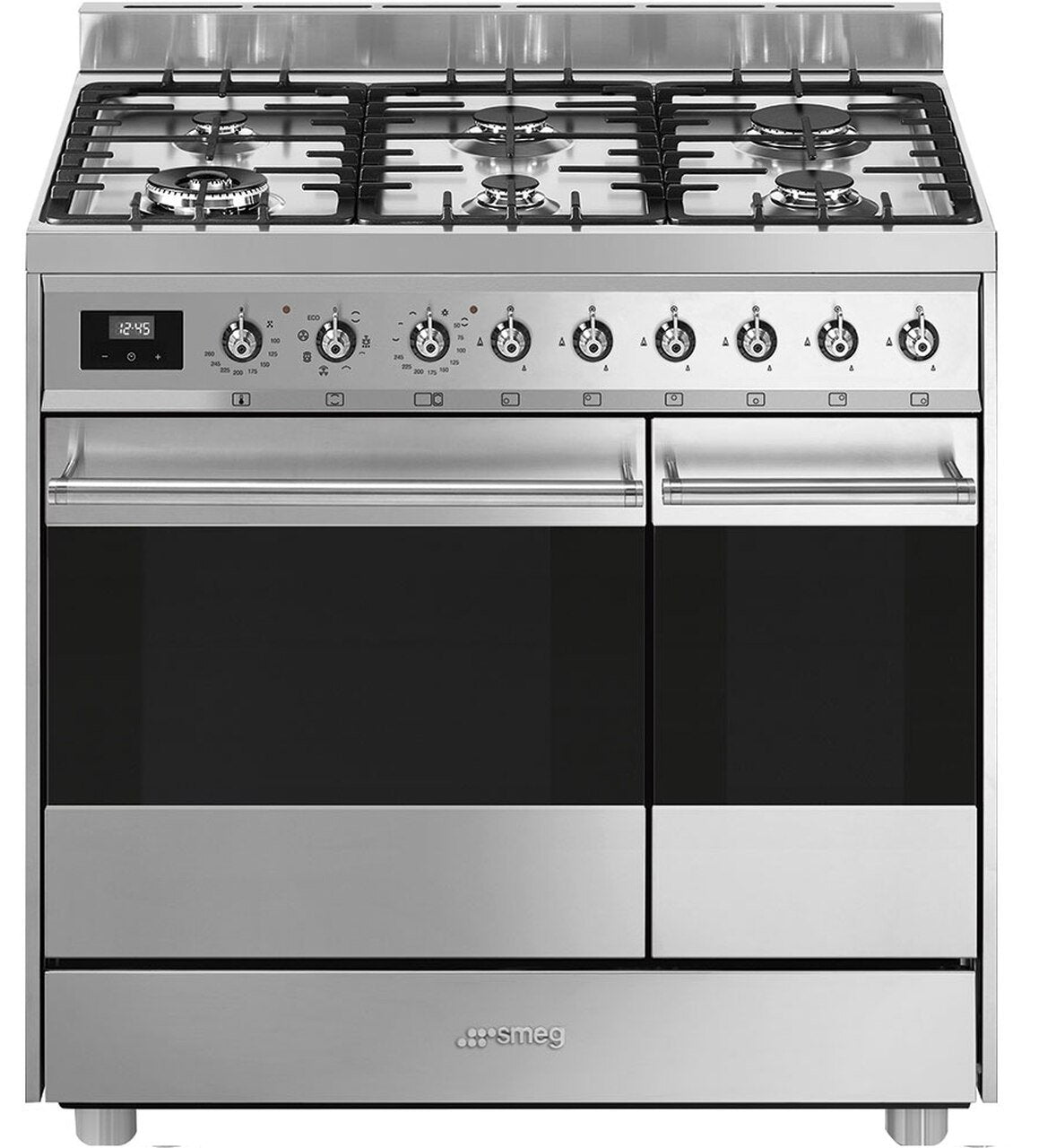 SMEG 90CM STAINLESS STEEL FREESTANDING OVEN WITH GAS TOP