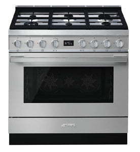 SMEG 90CM PORTOFINO PYROLYTIC FREESTANDING OVEN WITH GAS COOKTOP STAINLESS