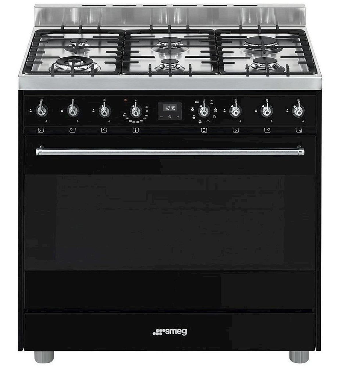 SMEG 90CM BLACK FREESTANDING OVEN WITH GAS TOP