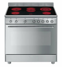 Load image into Gallery viewer, SMEG 90CM STAINLESS STEEL FREESTANDING OVEN WITH CERAMIC TOP
