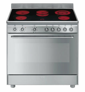 SMEG 90CM STAINLESS STEEL FREESTANDING OVEN WITH CERAMIC TOP
