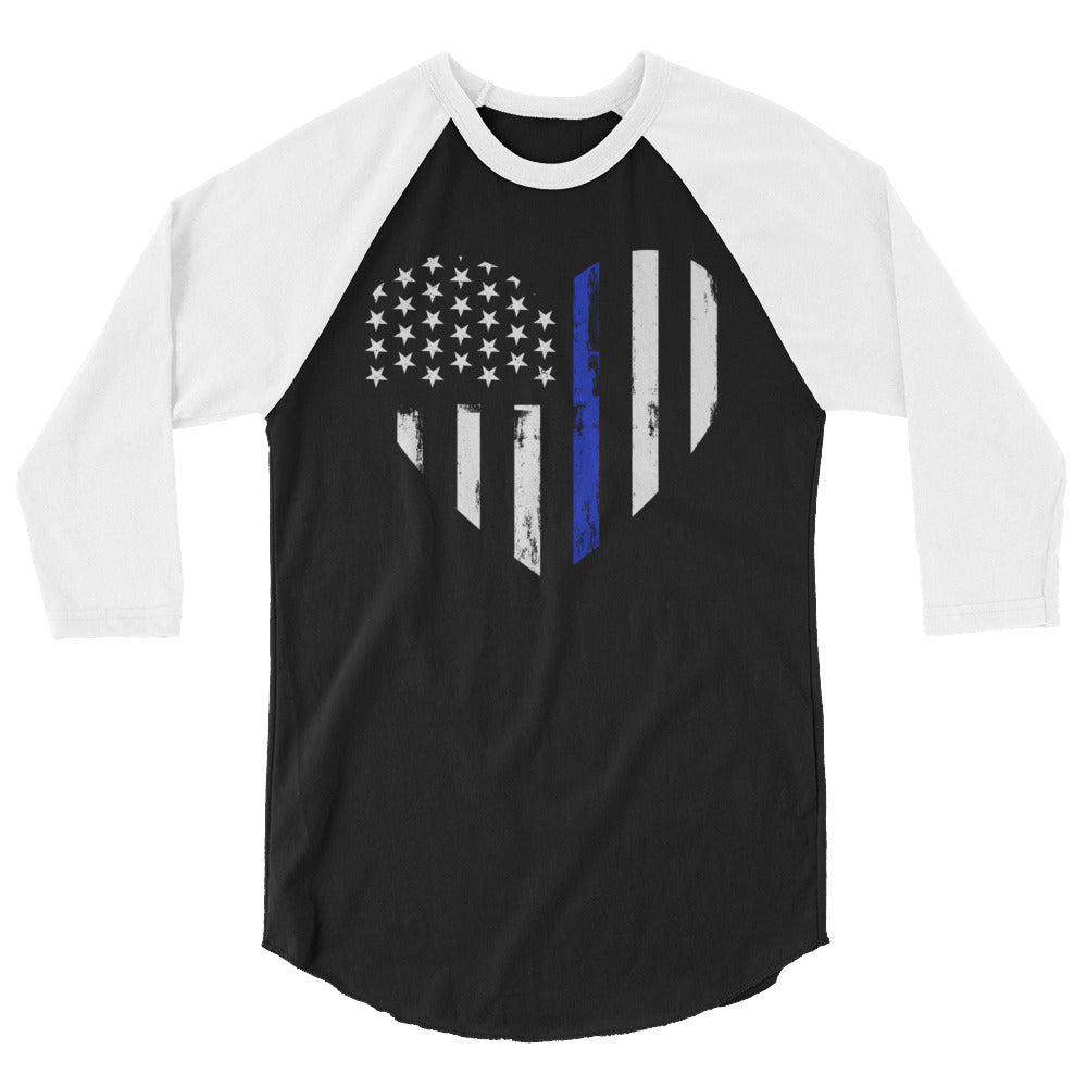 Blue Line Heart 3/4 sleeve raglan shirt