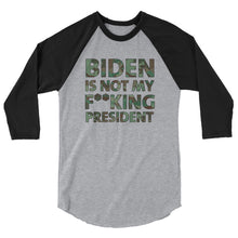 Load image into Gallery viewer, Biden Is Not My F**KING President Camouflage 3/4 sleeve raglan shirt