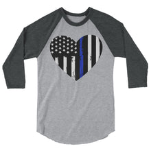 Load image into Gallery viewer, Blue Line Heart 3/4 sleeve raglan shirt