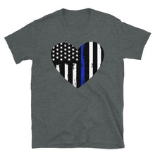 Load image into Gallery viewer, Blue Line Heart Short-Sleeve Unisex T-Shirt