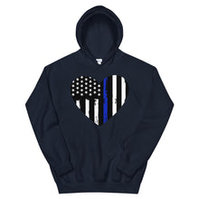 Load image into Gallery viewer, Blue Line Heart Unisex Hoodie