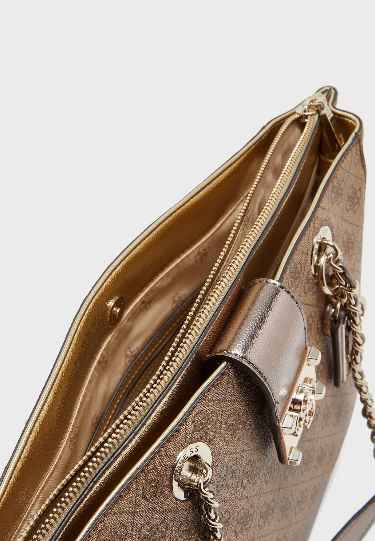 GUESS Logo City Metallic Girlfriend Carryall