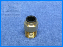 "Load image into Gallery viewer, John Guest 12mm Push Fit Straight Connector To 1/2"" NPT Brass Fitting"