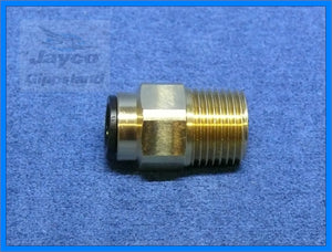 "John Guest 12mm Push Fit Straight Connector To 1/2"" NPT Brass Fitting"