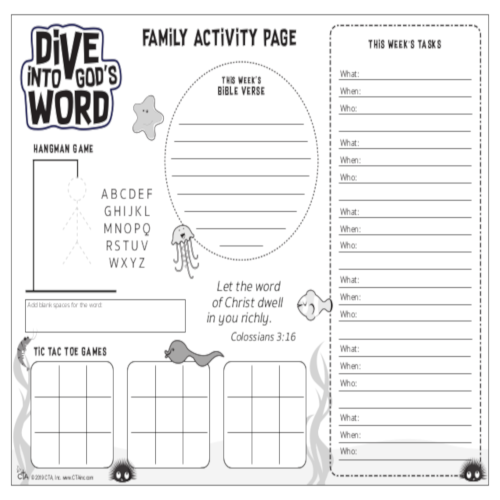 Sunday School Craft Activity Pages