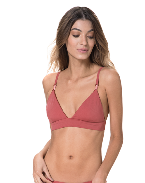 Rose del Mar Triangle Bikini Top