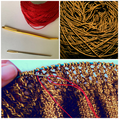 There are three images in a collage.  The top left image has a red ball of thread in the top and two darning needles parallel to each other on the bottom.  The top right image is a close-up view of some gold brown yarn.  The bottom image is the same gold brown yarn knitted up with the read thread being sewn threw it's stitches as a lifeline.