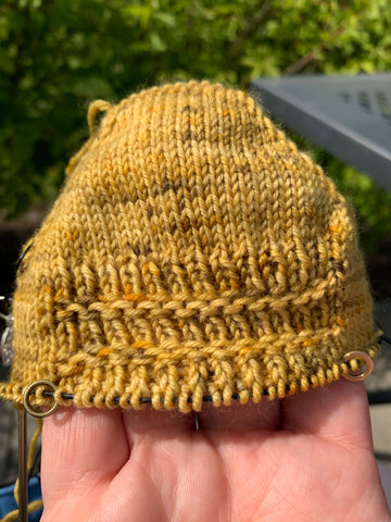 There is the toe of a knitted sock being held on fingertips. The yarn is pale yellow with black speckles with a ribbed pattern on the top. There are green bushes in the background.
