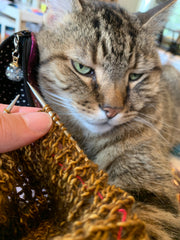 An image of a cat lying in a person's lap from the person's perspective  The cat is looking at the camera with half lidded eyes.  The person is holding a knitting project with gold colored yarn.