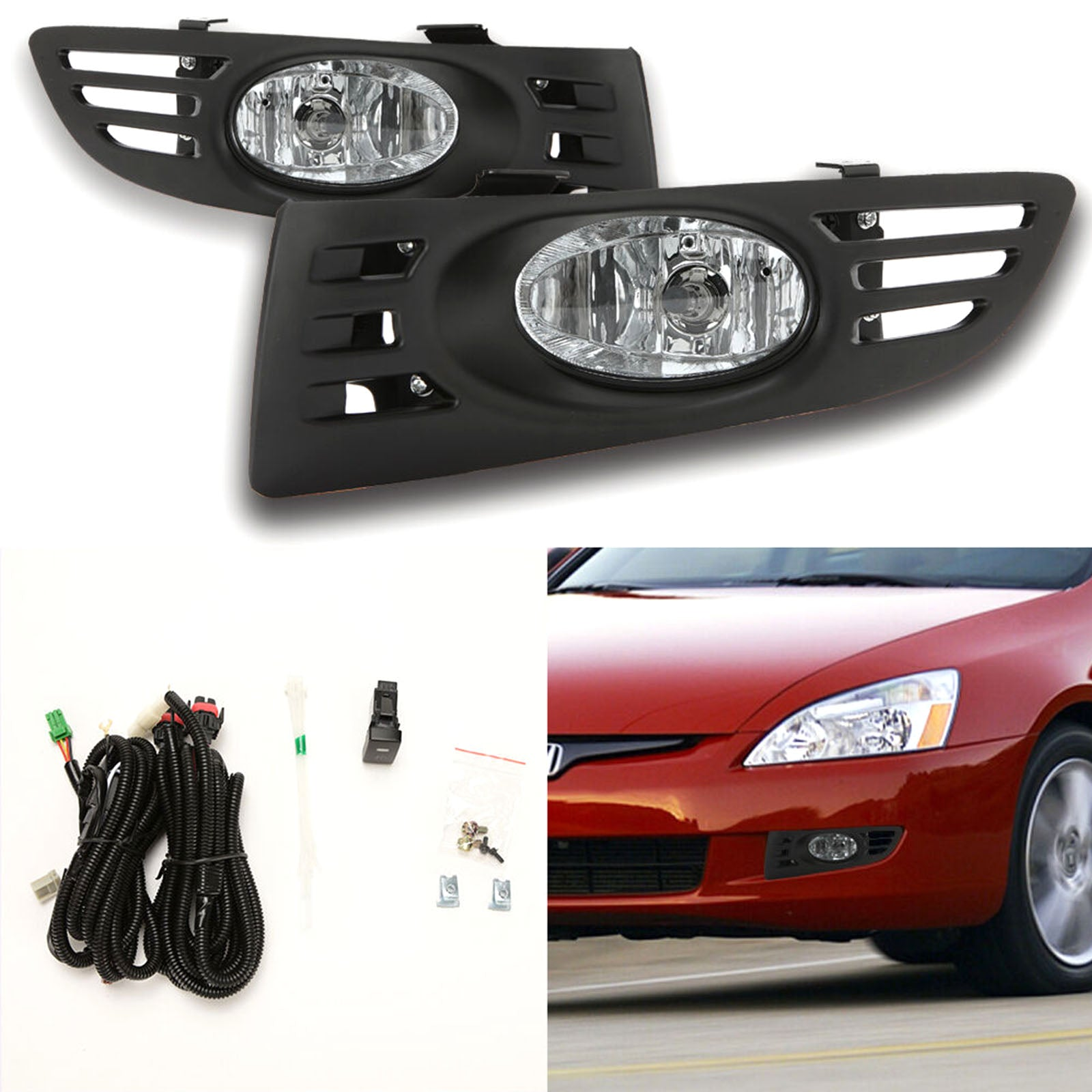 For 2003 2005 Honda Accord Coupe 2dr Clear Fog Lights Assembly Kit Wit