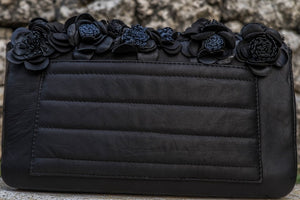 Felistianova - Amaranta Flower Black-Navy Python Leather Quilted Bag