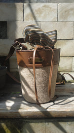 Load image into Gallery viewer, Felistianova - Enzi Bucket Burlap Leather Bag Lurik Lining