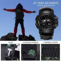 Digital Survival LED Military Watch with compass