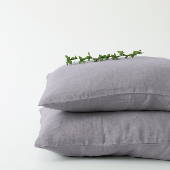 Ash Linen Pillowcase (100% Linen)