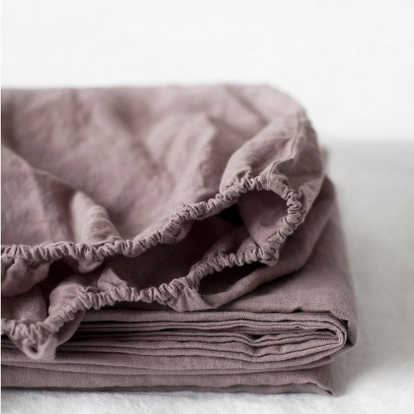 Ashes Of Roses Linen Fitted Sheet (100% Linen)