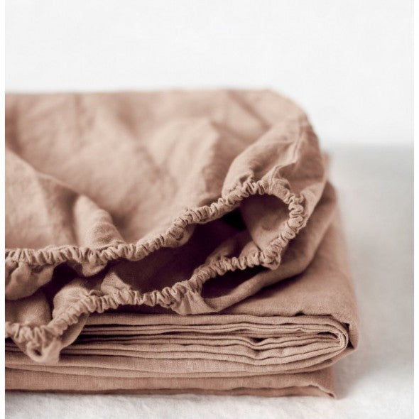 Cafe Creme Linen Fitted Sheet (100% Linen)