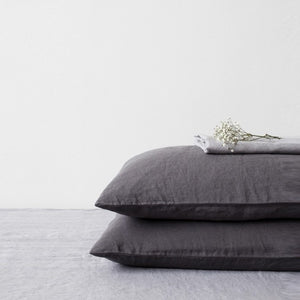 Dark Grey Linen Pillowcase (100% Linen)