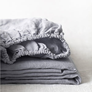 Light Grey Linen Fitted Sheet (100% Linen)