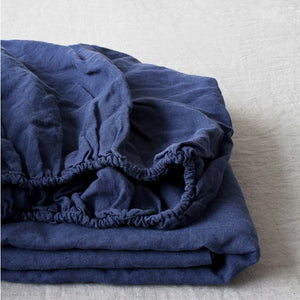 Navy Linen Fitted Sheet (100% Linen)
