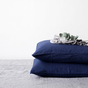 Navy Linen Pillowcase (100% Linen)