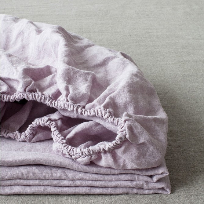 Pink Lavender Linen Fitted Sheet (100% Linen)