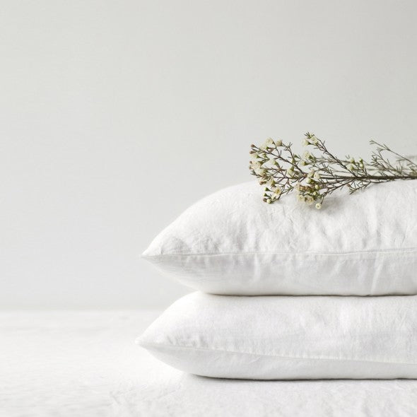 White Linen Pillowcase (100% Linen)