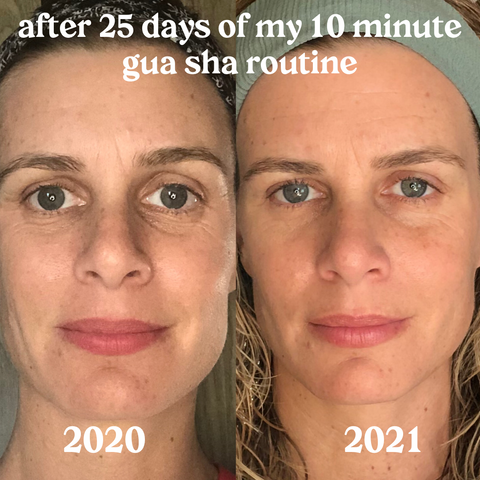 before and after of gua sha facial rolling routine organic natural beauty facial oil dresden body and wellness