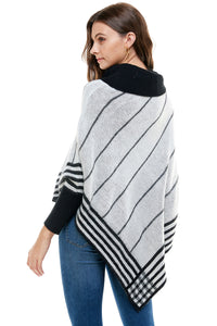 Amelia Relaxed Turtleneck Striped Poncho Sweater