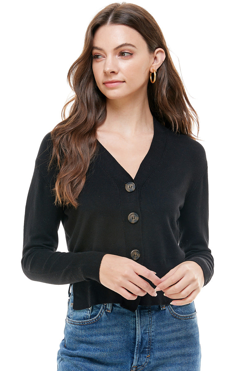 Abby Essential V-Neck Button Cardigan