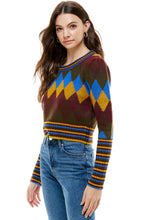 Load image into Gallery viewer, Camille Argyle-Stripe Mix Retro Cropped Sweater