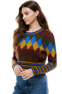 Camille Argyle-Stripe Mix Retro Cropped Sweater