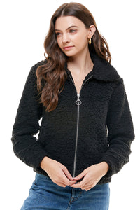 Jennifer Shearling O-Ring Zip Collared Jacket