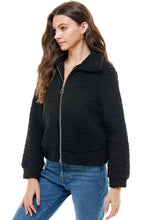 Load image into Gallery viewer, Jennifer Shearling O-Ring Zip Collared Jacket