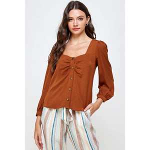 Peggy Ruched Bow Top
